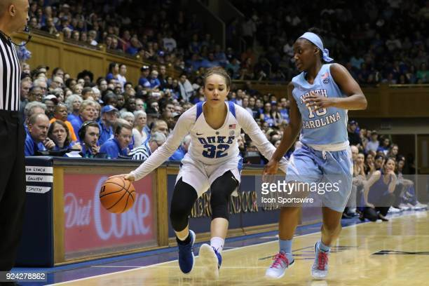 Duke Blue Devils guard Jayda Adams and North Carolina Tar Heels guard Jamie Cherry during the 1st half of the Women's Duke Blue Devils game versus...