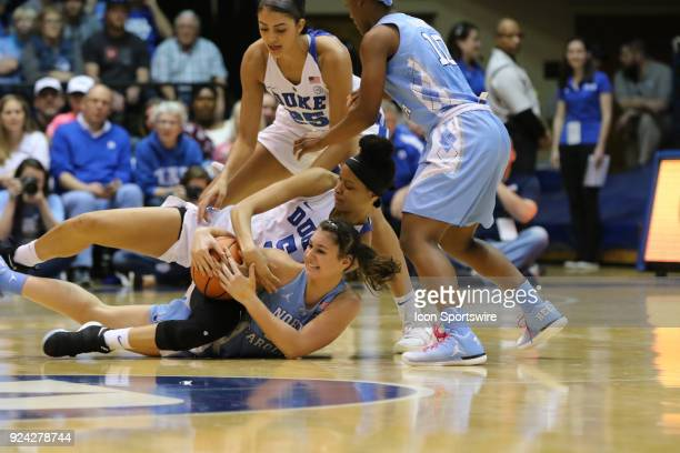 Duke Blue Devils guard Lexie Brown a n North Carolina Tar Heels guard Olivia Smith during the 1st half of the Women's Duke Blue Devils game versus...