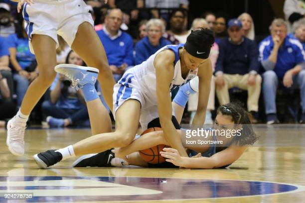 Duke Blue Devils guard Lexie Brown and North Carolina Tar Heels guard Olivia Smith during the 1st half of the Women's Duke Blue Devils game versus...