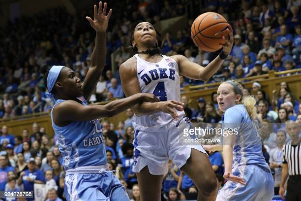 Duke Blue Devils guard Lexie Brown and North Carolina Tar Heels forward Jaelynn Murray during the 1st half of the Women's Duke Blue Devils game...