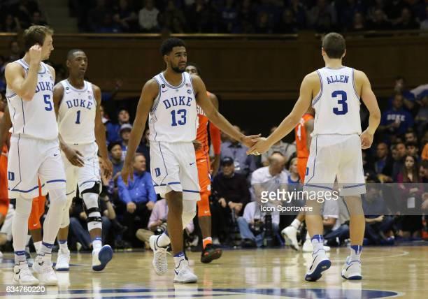Duke Blue Devils guard Matt Jones and Duke Blue Devils guard Grayson Allen during a men's basketball game between the Clemson Tigers and the Duke...