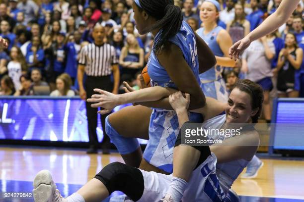 Duke Blue Devils guard Rebecca Greenwell falling to the ground while North Carolina Tar Heels center Janelle Bailey has the ball during the 2nd half...