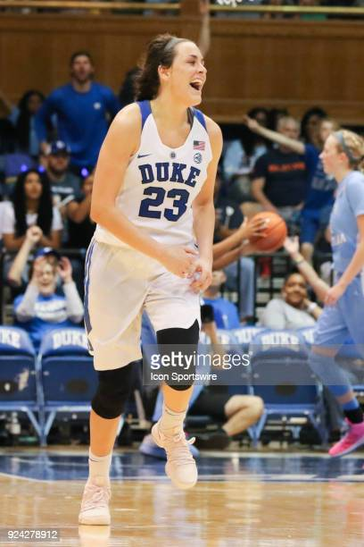 Duke Blue Devils guard Rebecca Greenwell smiling during the 2nd half of the Women's Duke Blue Devils game versus the Women's North Carolina Tar Heels...