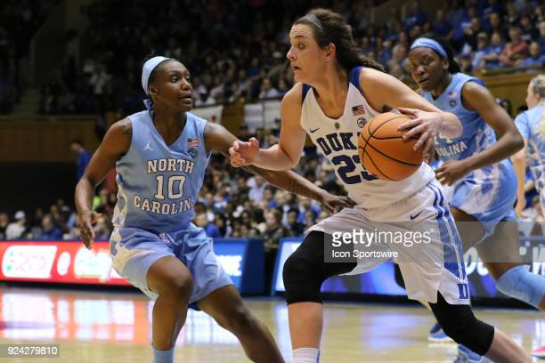 Duke Blue Devils guard Rebecca Greenwell with the ball and North Carolina Tar Heels guard Jamie Cherry during the 2nd half of the Women's Duke Blue...