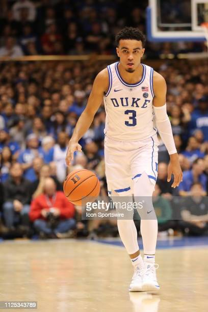 Duke Blue Devils guard Tre Jones with the ball during the 1st half of the Duke Blue Devils game versus the NC State Wolfpack on February 16th at...