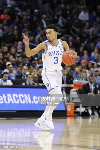 Duke Blue Devils guard Tre Jones with the ball during the 1st half of the ACC Tournament championship game with the Duke Blue Devils versus the...