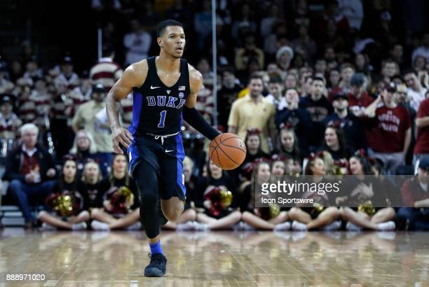 Duke Blue Devils guard Trevon Duval brings the ball up during a game between the Boston College Eagles and the Duke University Blue Devils on...