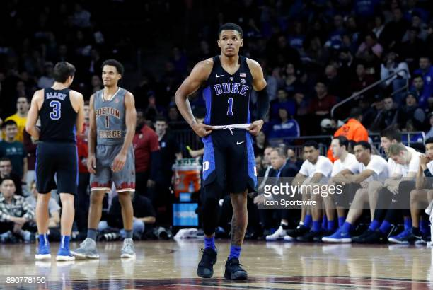 Duke Blue Devils guard Trevon Duval during a game between the Boston College Eagles and the Duke University Blue Devils on December 9 at Conte Forum...
