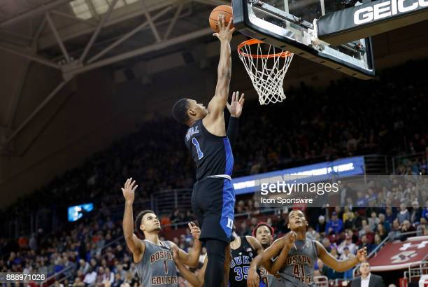 Duke Blue Devils guard Trevon Duval lays the ball up during a game between the Boston College Eagles and the Duke University Blue Devils on December...