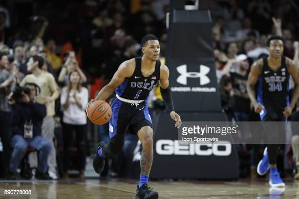 Duke Blue Devils guard Trevon Duval pushed the ball up the floor during a game between the Boston College Eagles and the Duke University Blue Devils...