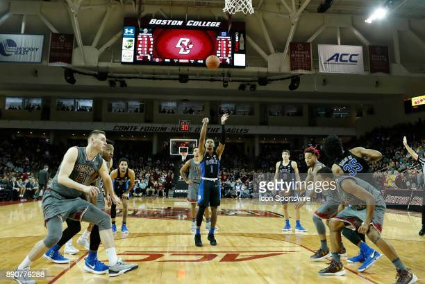 Duke Blue Devils guard Trevon Duval shoots a free throw during a game between the Boston College Eagles and the Duke University Blue Devils on...