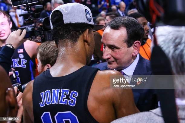Duke Blue Devils head coach Mike Krzyzewski hugs Duke Blue Devils guard Matt Jones after the Duke Blue Devils win the 2017 New York Life ACC...