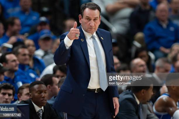 Duke Blue Devils head coach Mike Krzyzewski on the sidelines during the State Farm Champions Classic basketball game between the Duke Blue Devils and...