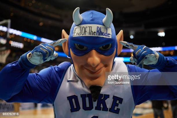 Duke Blue Devils mascot Blucifer enjoys the win after the second round game of the NCAA Division I Men's Championships between the Duke Blue Devils...