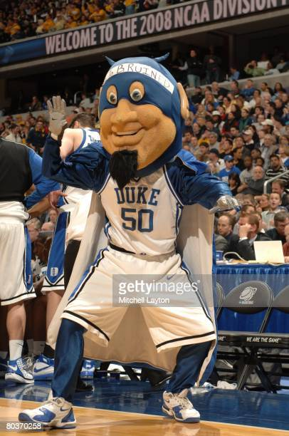 Duke Blue Devils mascot performs during a NCAA Men's Basketball first round game against the Belmont Bruins at Verizon Center on March 20 2008 in...