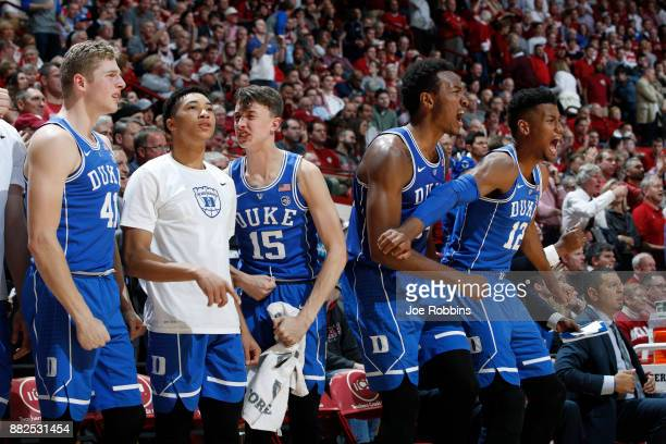 Duke Blue Devils players react from the bench in the second half of a game against the Indiana Hoosiers at Assembly Hall on November 29 2017 in...