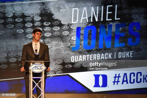 Duke Blue Devils quarterback Daniel Jones addresses the media on day 2 of the ACC Football Kickoff at the Westin Hotel in Charlotte NC on July 14 2017