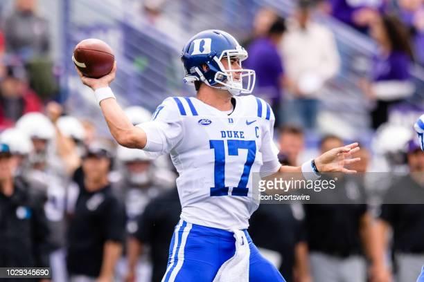 Duke Blue Devils quarterback Daniel Jones passes the ball in the 1st quarter during a college football game between the Duke Blue Devils and the...