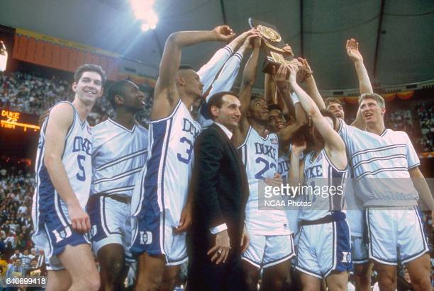 Duke celebrates after winning the NCAA Photos via Getty Images Final Four basketball championship held at the RCA Dome in Indianapolis IN Duke...