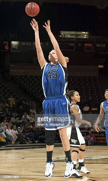 Duke center Alison Bates launches a shot during the second half of the Blue Devils 99-86 win over Wake Forest at the LJVM Coliseum in Winston-Salem,...