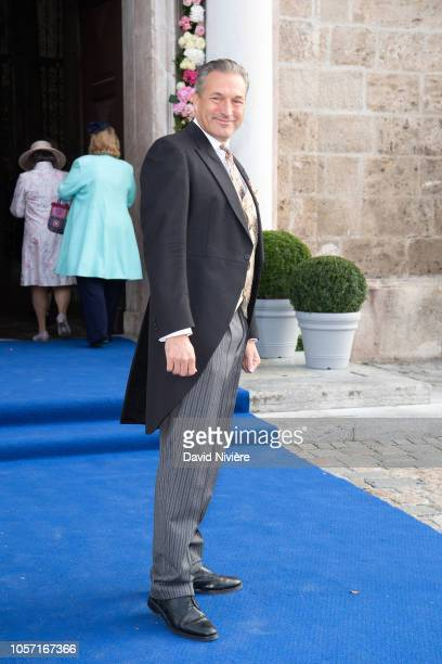 Duke Eberhard of Wurtember arrives at the SaintQuirin Church for the wedding of Duchess Sophie of Wurttemberg and Count Maximilian of Andigne at the...
