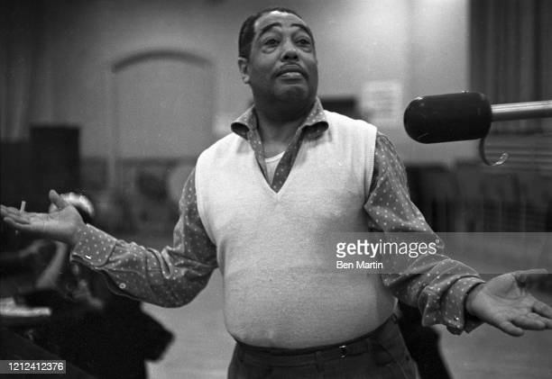 Duke Ellington American composer pianist and jazz orchestra leader in rehearsal May 18 1956