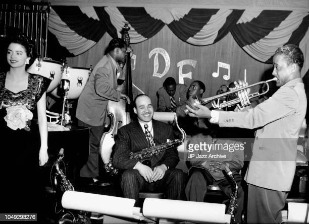 Duke Ellington Orchestra at a club date 1945. In the front trumpet player Ray Nance. From left singer Kay Davis, saxophone player Al Sears, junior...