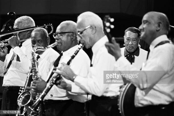 Duke Ellington performing with Kid Thomas Preservation Hall Band at Berliner Jazztage Germany November 1971 American jazz composer pianist and...