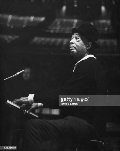 Duke Ellington US jazz composer pianist and band leader playing the piano during a live concert performance at the Royal Albert Hall in London...