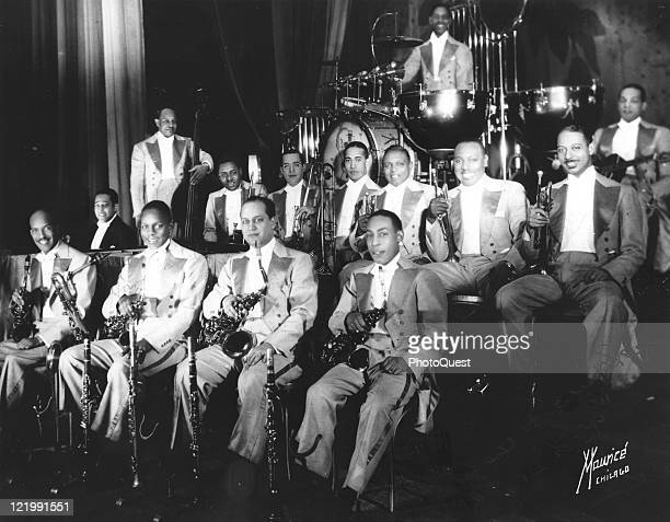 Duke Ellington's Original Big Band poses in Chicago IL 1930 Ellington in dark jacket sits at left at piano
