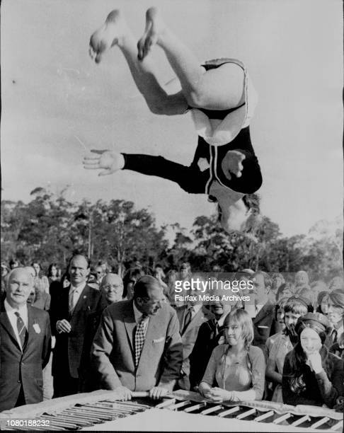 Duke enjoyed very much the Hornsby Girls High School Trampoline Squad in photo talks to one of the groupPresentation of Gold Awards by his royal...