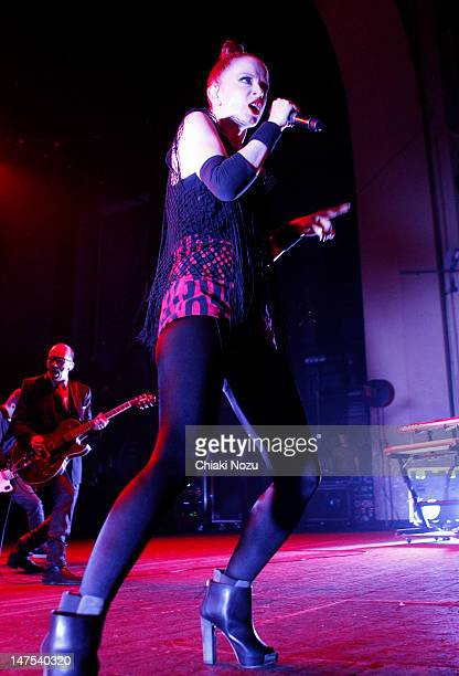 Duke Erikson and Shirley Manson of Garbage perform at Brixton Academy on July 1 2012 in London England