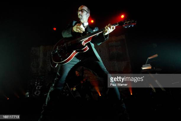 Duke Erikson of Garbage performs with the band in concert at Majestic Theater on March 30 2013 in Detroit Michigan