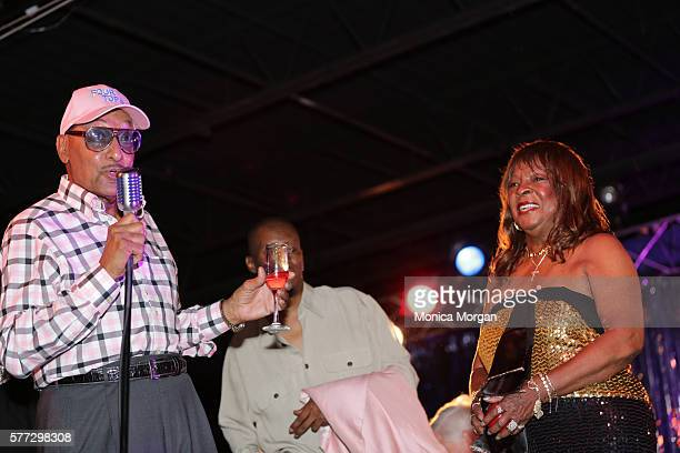 Duke Fakir and Martha Reeves attend Martha Reeves' 75th birthday party at Bert's Warehouse Theatre on July 18 2016 in Detroit Michigan