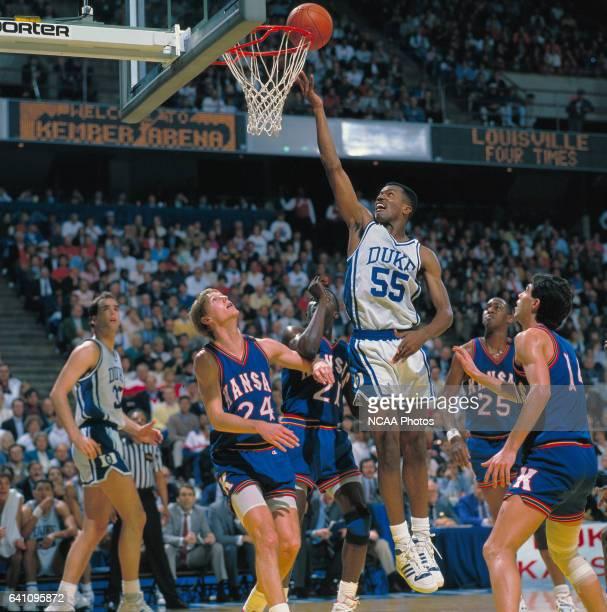 Duke forward Billy King and Kansas forward Chris Piper guard/forward Milt Newton forward Danny Manning and guard Kevin Pritchard during the NCAA...