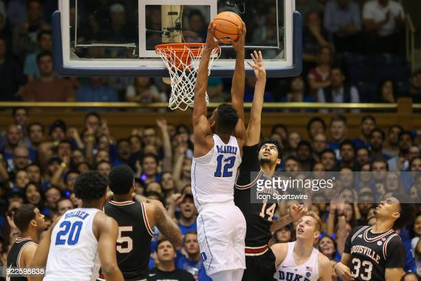 Duke forward Gavin DeLaurier dunks the ball while defended by Louisville forward Anas Mahmoud during the game between the Louisville Cardinals and...