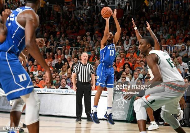 Duke guard Matt Jones shoots during a college basketball game between the Duke University Blue Devils and the University of Miami Hurricanes on...