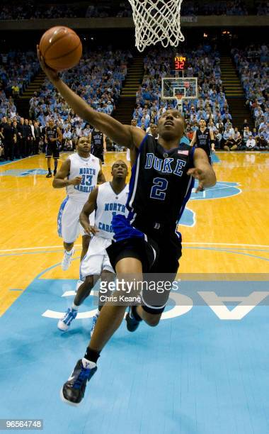 Duke guard Nolan Smith drives the ball against North Carolina during a men's college basketball game at Dean Smith Center on February 10 2010 in...