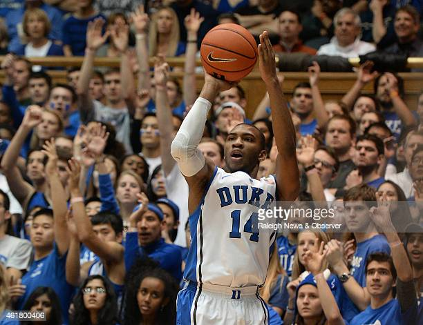 Duke guard Rasheed Sulaimon shoots one of his firsthalf threepointers against Pittsburgh on Monday Jan 19 at Cameron Indoor Stadium in Durham NC