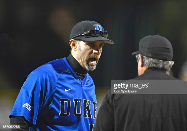 Duke Head Coach Chris Pollard protests a call during a college baseball game between the Duke University Blue Devils and the University of Miami...