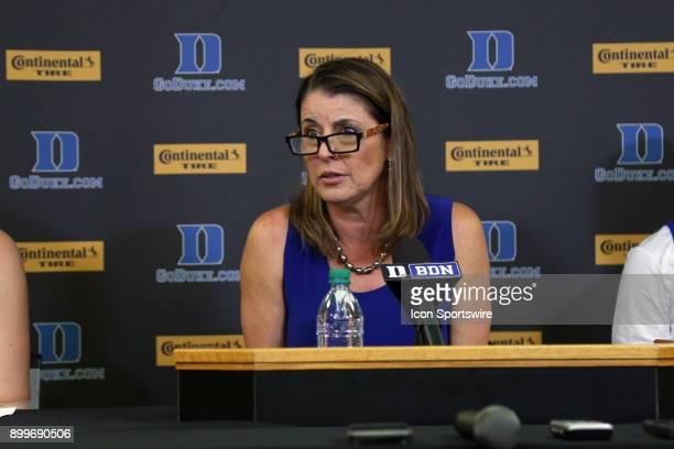 Duke head coach Joanne P McCallie during the Duke Blue Devils game versus the Ohio State Buckeyes on November 30 at Cameron Indoor Stadium in Durham...
