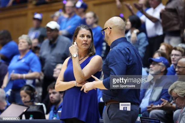 Duke head coach Joanne P McCallie with assistant coach Hernando Planells during the Duke Blue Devils game versus the Ohio State Buckeyes on November...