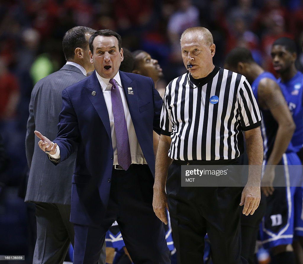 Duke head coach Mike Krzyzewski complains about a call in first half action in the NCAA regional final game on Sunday, March 31, 2013, in Indianapolis, Indiana. Louisville won the game 85-63. (Sam Riche/MCT via Getty Images)in the NCAA regional final game on Sunday, March 31, 2013, in Indianapolis, Indiana. Louisville won the game 85-63.