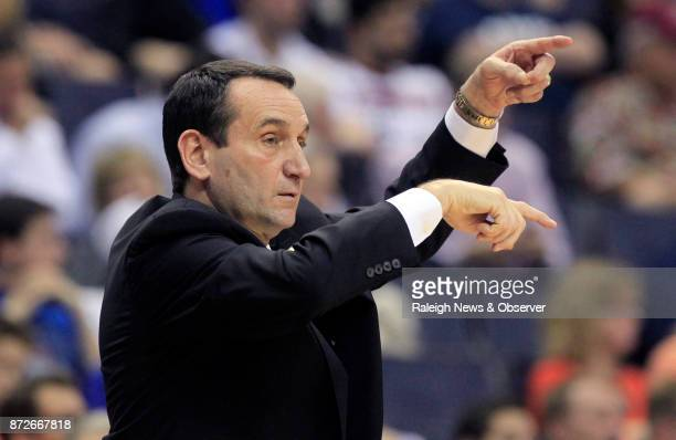 Duke head coach Mike Krzyzewski directs his team during the ACC Tournament on March 9 at the Verizon Center in Washington DC RJ Barrett the nation's...