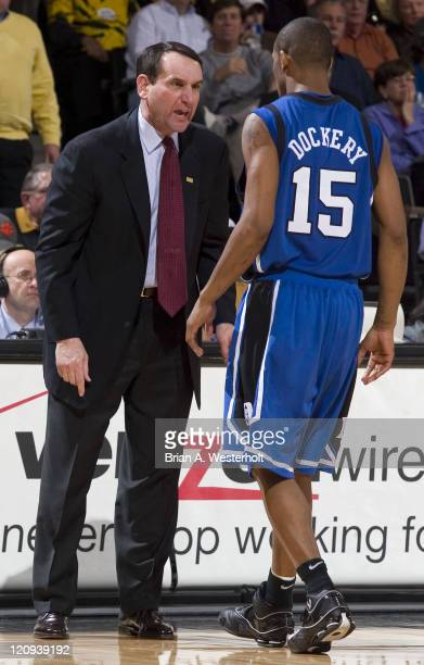 Duke head coach Mike Krzyzewski gives Sean Dockery an earfull during second half action versus Wake Forest at the LJVM Coliseum in WinstonSalem NC...