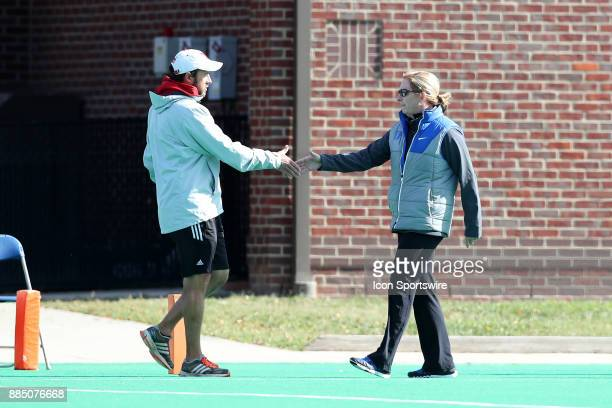 Duke head coach Pam Bustin and Miami head coach Inako Puzo shake hands after the game during the Duke Blue Devils game versus the Miami University...