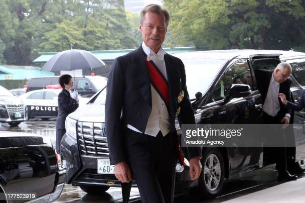 Duke Henri of Luxembourg arrives at the Imperial Palace to attend the proclamation ceremony of Japan's Emperor Naruhito in Tokyo Japan on October 22...