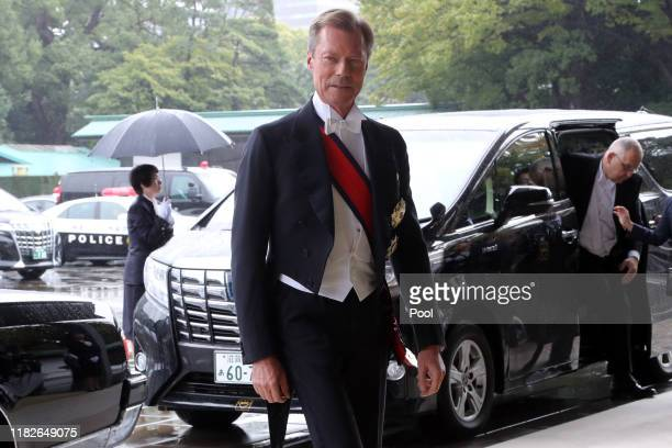 Duke Henri of Luxembourg arrives at the Imperial Palace to attend the proclamation ceremony of Japan's Emperor Naruhito on October 22 2019 in Tokyo...