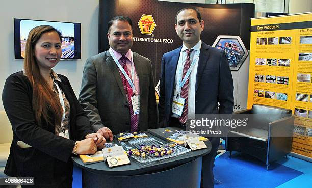 Duke International FZCO Ms Gina Sales Manager Bunty Khanwani and Managing Director Vimal A Sahityani during the Big 5 event The Big 5 International...