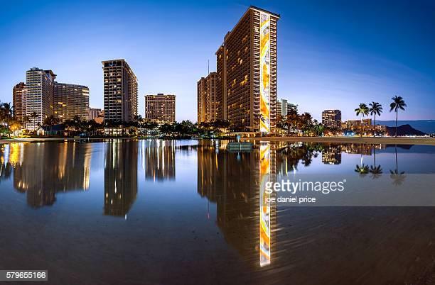duke kahanamoku lagoon, waikiki beach, waikiki, honolulu, oahu, hawaii, america - ワイキキビーチ ストックフォトと画像